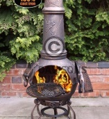 Toledo Cast Iron Chimenea Extra Large in Bronze with Grapes