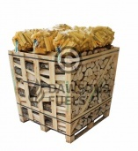 Large crate of kiln dried Ash logs with 6 x nets of Kindling Sticks
