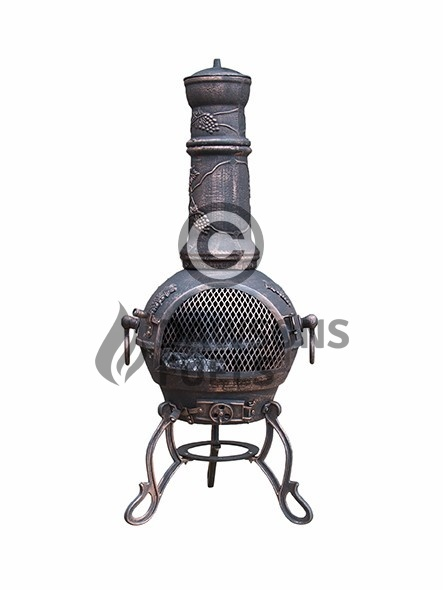Toledo Cast Iron Chimenea Large in Bronze with Grapes